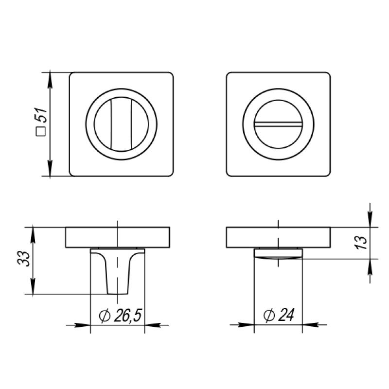 Ручка поворотная Punto (Пунто) BK6 ZQ GR-23 графит