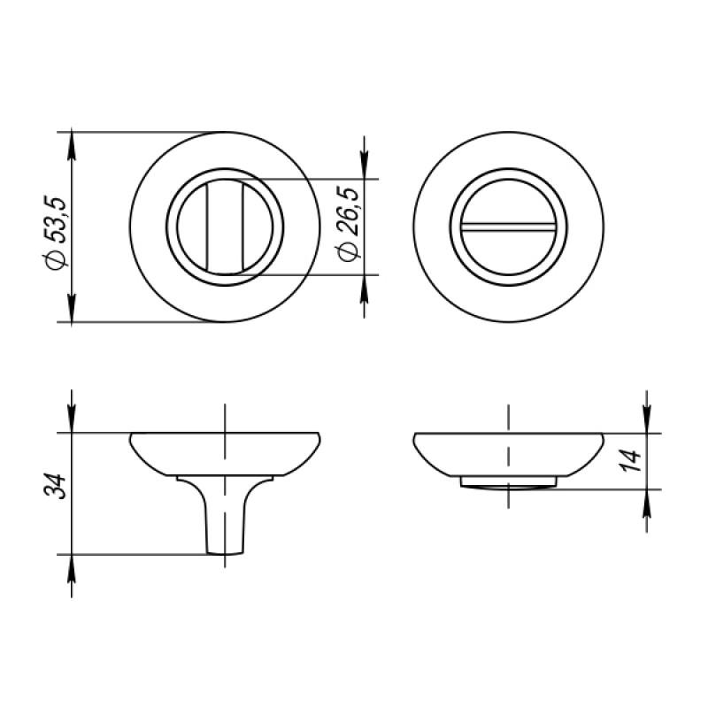Ручка поворотная Punto (Пунто) BK6 ZR SN/CP-3 матовый никель/хром