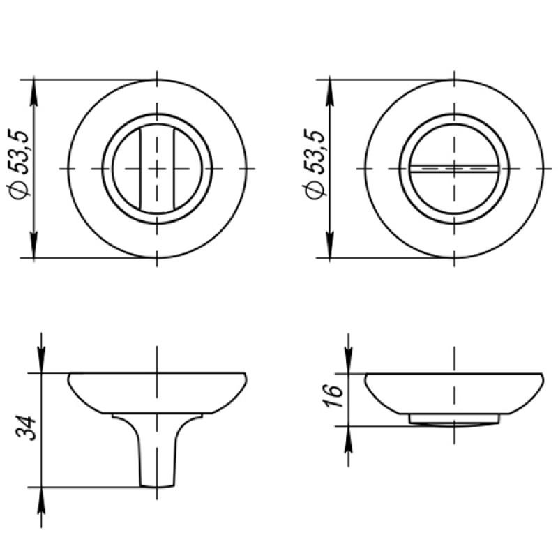 Ручка поворотная Ajax (Аякс) BK6 JK SN/CP-3 матовый никель/хром